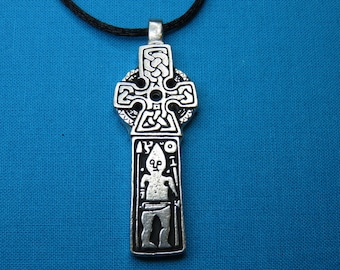 Small Viking Prayer Stone Cross / Norse Man Cross handmade in Silver Pewter STK016