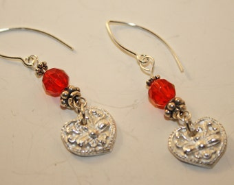 Silver Heart and Red Crystal Earrings