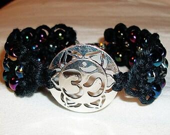Aum Om Ohm Hemp Bracelet Micormacrame and Glass Beads - Silver Aum Pendant on Black Hemp Jewelry - Om Ohm Micro Macrame