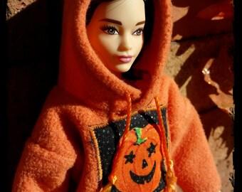 Fall Orange Jack O Lantern Barbie Hoodie Ready to Ship