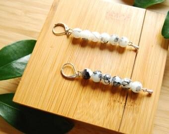 sashiko earrings / hand made /  silver / japanese minimalist / beaded earrings / shoulder dusters