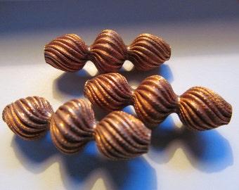 Vintage Brass Beads (2) Cool Twisty Dark Patina Beads