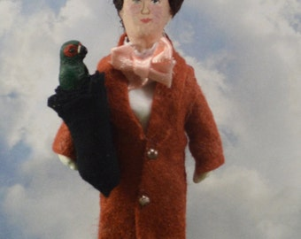 Mary Poppins and Her Talking Umbrella Doll Miniature Art Collectible