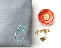 Monogram Pouch in Gray and Teal or Custom Colors