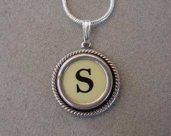 typewriter key jewelry necklace cream letter s typewriter key necklace initial s serif font initial necklace s