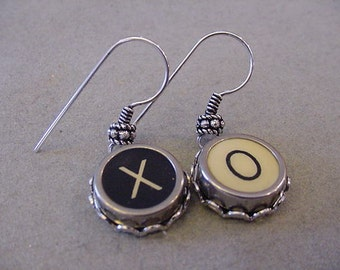 Typewriter Key Jewelry Earrings X O HUGS and KISSES X O Black and Cream Typewriter Key Earrings