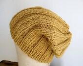 Mustard wool hat, slouchy beanie, cap - HAND KNIT - women men youth teen