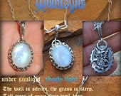 Hold for John Favor of the May Queen Moonlight moonstone and winged fairy on Handcrafted 21 inch sterling silver Chain