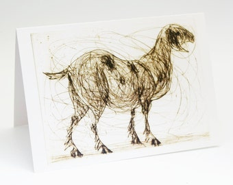 Nanny Goat, Greeting Card, Art Card, Bridget Farmer, Animal Art, Animal Card