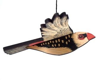 Diamond Firetail Finch Mobile, Hand Printed Wooden Lino Printed Hanging Bird, Finch, Australian Bird,