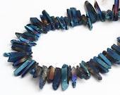 Deep Blue Quartz Crystal Stick Points Long Pendants Top Drilled Raw Crystals Necklace Bulk  (CS-009)