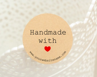 "60 pcs ""Handmade with Heart"" with your website name stickers,labels, envelope seals, round stickers 1.25 inch (PSB-3212A)"