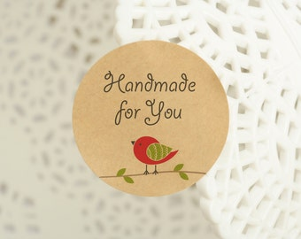 "60 pcs ""Handmade for you"" stickers,labels, envelope seals, round stickers 1.25 inch (PSB-3218)"