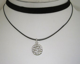 Tree of Life Choker Necklace Faux Suede Leather