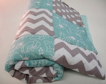 Elephants You Are My Sunshine Aqua with Gray Chevron and Dots  3 Piece Baby Crib Bedding Set MADE TO ORDER