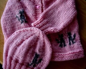 Baby Sweater Set, infant set, hand knit, baby girl set, baby boy sweater set, sweater and hat set, new born sweater set