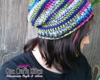 Jazz Stripes Crocheted Slouch Beanie - Teen/Adult - READY TO SHIP