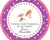 Gymnastics Tumbling Party round sticker label / cupcake topper / thank you tags for birthday party, baby shower, PERSONALIZED
