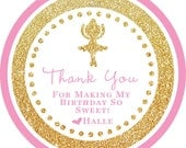 Gold Glitter Ballet Ballerina Tutu round sticker label / cupcake topper / thank you tags for birthday party, baby shower, PERSONALIZED
