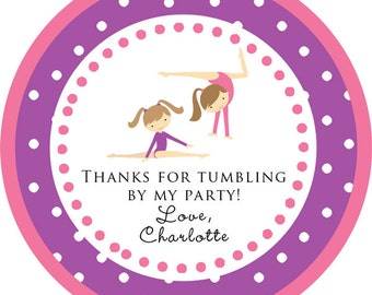 Gymnastics Tumbling Party blonde or brunette round sticker / cupcake topper / thank you tags for birthday party, baby shower, PERSONALIZED