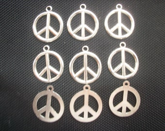 6 Peace Sign Symbol Pendants Charms Silver Tone Metal 30mm