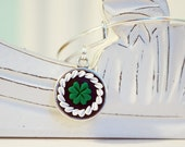 St Patricks Day Shamrock Adjustable Bangle Bracelet -  Alex & Ani Inspired Style