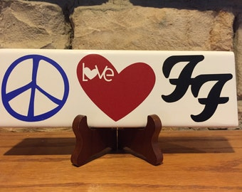 """Peace Love Foo Fighters 3x9"""" ceramic tile (unofficial )"""