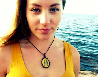 Bumblebee Jasper Necklace / Bumblebee stone / Yellow and black /  for  women / Healing stones and crystals / Macrame necklace