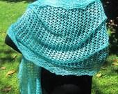 ELEGANCE in Aqua Silk/Cashmere Lace Shawl