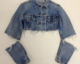 Raw Destroyed Tattered  fitted Levi denim jacket