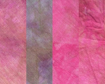 Hand dyed fabric collection, shades of lilac, mauve, pink, only one available