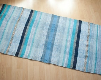 COUNTRY BLUES -- Hand-woven multicolored rug