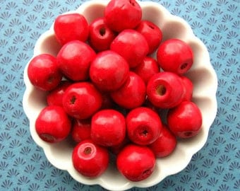 Red Wooden Beads 16mm - Over 50 - Large Glossy Cherry Red Wood Beads Round (WBD0118)