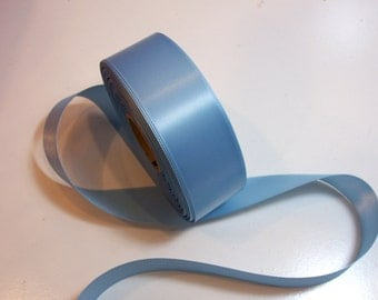 Blue Ribbon, Single-faced bird blue satin ribbon 1 1/2 inches x35 yards, SECOND QUALITY FLAWED