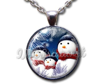 Christmas Snowman Family Dome Pendant or with Chain Link Necklace  HD163