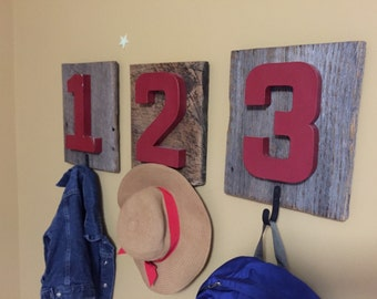1,2, and 3 number hooks on barn lumber