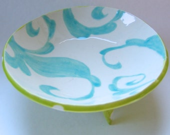 pottery Serving Bowl chartreuse w/ white polka-dots and hand-painted light turquoise whimsical swirls