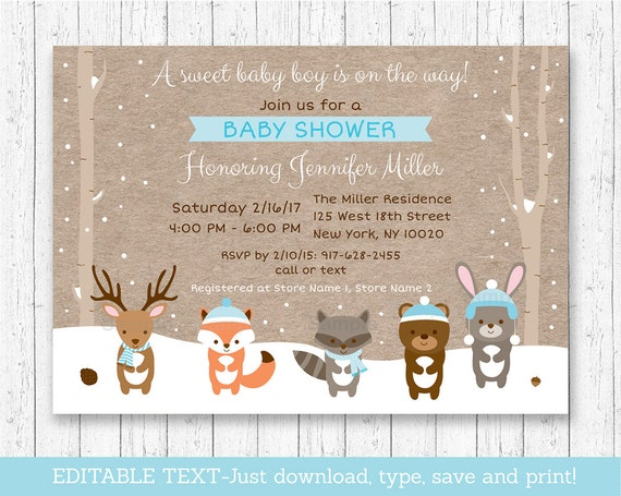 picture relating to Baby Shower Invitation Printable titled Facts in excess of Winter season Woodland Pets Boy or girl Shower Invitation Printable Editable PDF