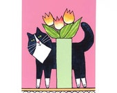 Whimsical Cat Art Print/ Longhair Tuxedo Kitty with Tulips by Susan Faye