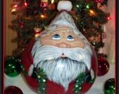 Hand Painted GARLAND SANTA GOURD - Holiday Decor - Gourd - Home Decor - Santa - Original Design - ofg- hdm - Folk Art Santa - Primitive