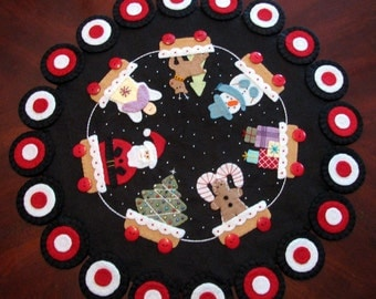 "Hand Stitched - Original Design - 23"" CHRISTMAS PENNY RUG - Table Centerpiece - Holiday Penny Rug - Wool - Christmas Fiber Art - Table Mat"