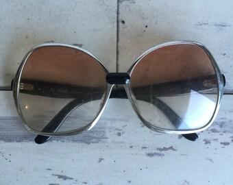 Vintage Sunglasses Frames - Made in France -1970s Boho Hippie Metal