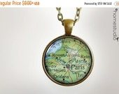 ON SALE Paris Map : Glass Dome Necklace, Pendant or Keychain Key Ring. Gift Present metal round art photo jewelry HomeStudio. Silver Copper