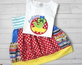 Back To School Outfit - Bookworm Applique Shirt - Knit Waist Bubble Skirt with Pockets - Made to Order