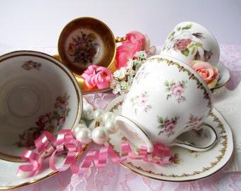 Vintage Teacup Collection Mismatched Set of Four - Dresden Bavarian Bone China