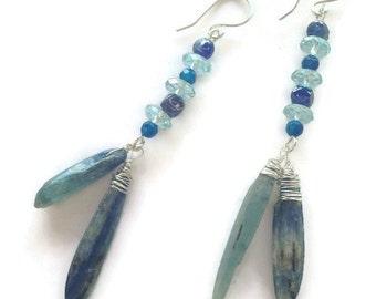 Blue Kyanite Earrings Beach Jewelry Long Earrings Elegant Tribal Handmade Earrings