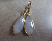 Large Moonstone Earrings, Gold, Rainbow Moonstone, White Earrings, Iridescent, Drop, Teardrop, Irisjewelrydesign
