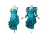 Vintage 80s Prom Dress - 80s Party Dress - 80s Strapless Dress - Teal Dress- Dress Jacket Set - Green Lace Dress - XS Prom Dress - Ruffles