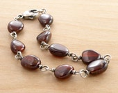 Brown Garnet Bracelet, Sterling Silver, Hessonite Gemstones, January Birthstone, Brown Gemstones, Wire Links, #3890