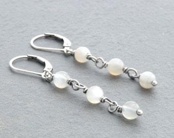 White Moonstone Dangle Earrings, Gemstone Earrings, Lever Back Ear Wires, Moonstone Gemstones, June Birthday, Sterling Silver, #4689